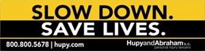"Request a FREE ""SLOW DOWN. SAVE LIVES"" Bumper Sticker!"