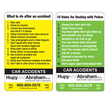 "Obtain Your Green and Yellow Cards:  ""What to Do After an Accident"" and ""Rules for Dealing With Police"""
