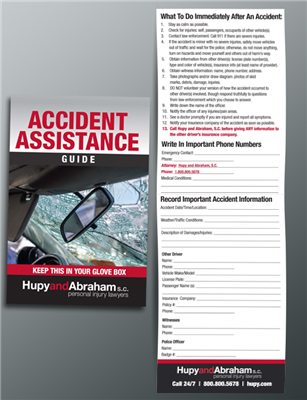 The Hupy and Abraham Accident Assistance Guide—Keep This in Your Glove Box!