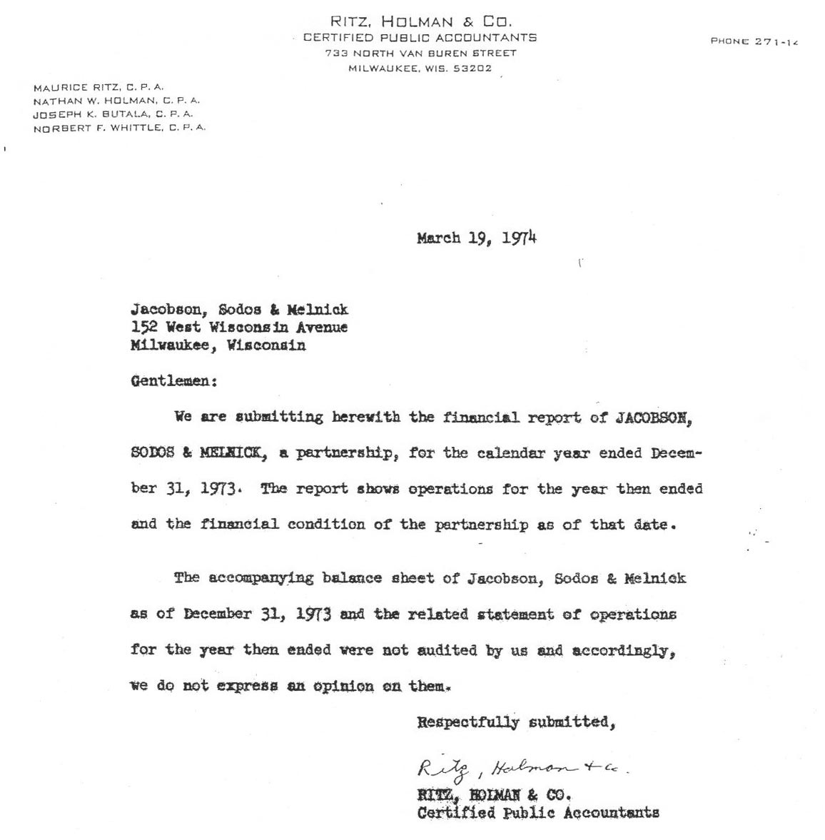 Wisconsin illinois iowa injury law firm hupy and abraham sc accountants letter march 19 1974 madrichimfo Images