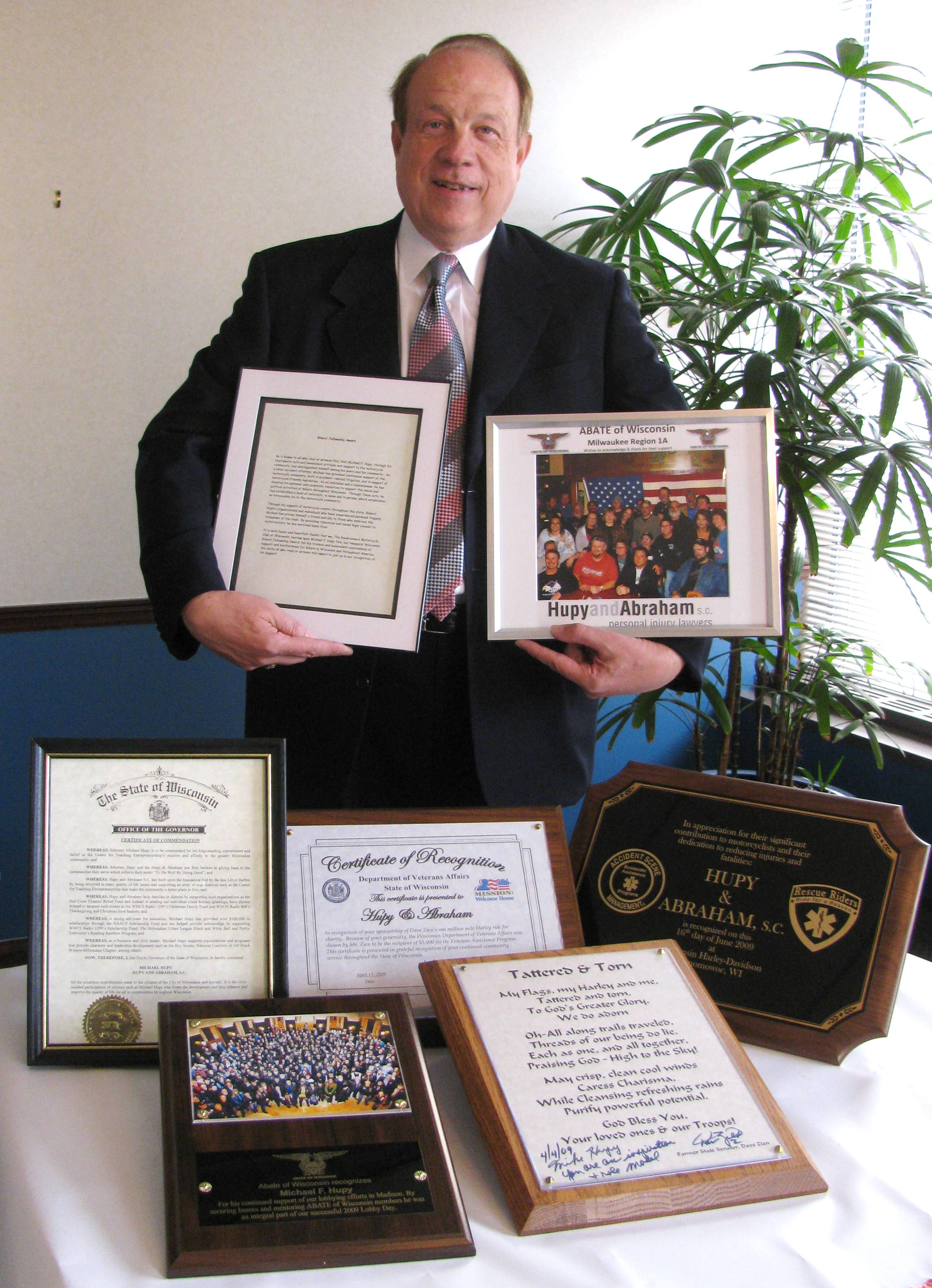 Attorney Hupy holds awards and commendations