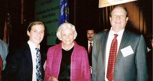 Rex Hupy, Former United States Supreme Court Justice Sandra Day O'Connor and Attorney Michael F. Hupy at the Milwaukee Bar Association 150th Anniversary Luncheon