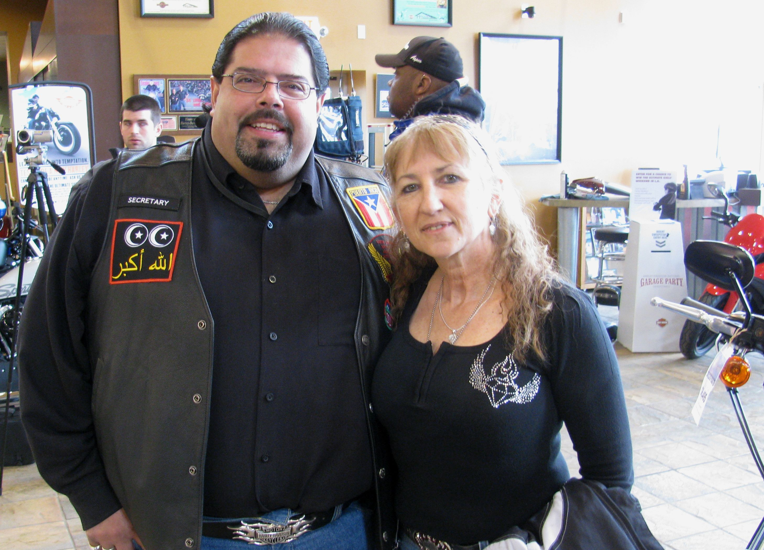 L.A.M.A. member Robert Miranda and Vicki Sanfelipo at the Excutive Ride Press Conference