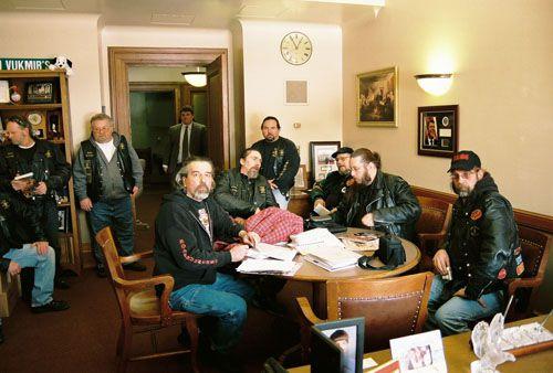 Members Of The Road Runners MC And Saints MC Meet In Representative Leah Vukmir's Office