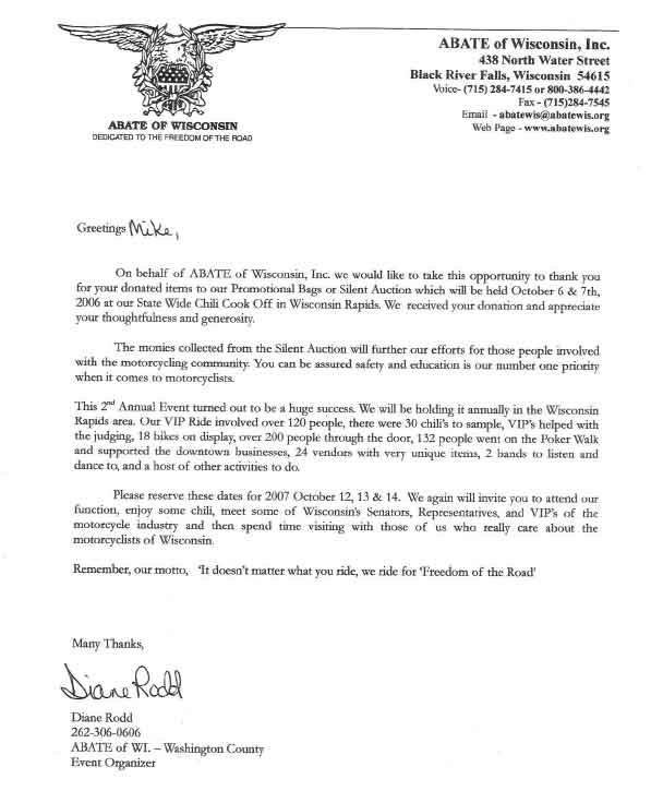 Letter from Abate